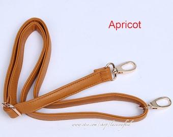 1Pc 53x0.8 inches Adjustable Apricot Dark Khaki Brown PU leather strap for Purse Cross body Satchel Tote Handbag Shoulder Bag Making