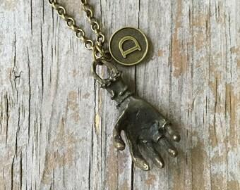 Bronze Zombie Hand Necklace/ Pewter Bronze Zombie Necklace/ Zombie Hand Initial Necklace/ Custom Necklace/ Bronze Zombie Hand Pendant