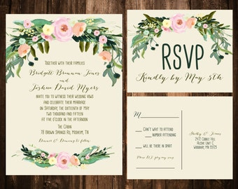 Spring Bohemian Wedding Invitations; Blush & Ivory; Printable OR set of 25