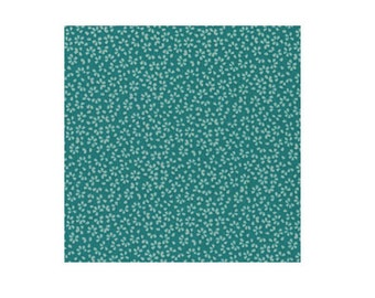 Teal Calico Cotton Shirting, Tiny Floral-like Design, Dear Stella (By 1/2 yd)