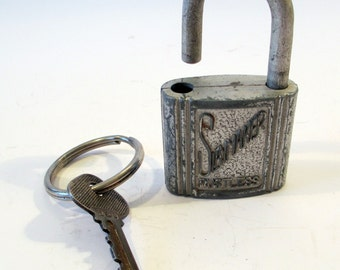 Vintage Slaymaker Rustless padlock with key, 1950's security, Locksmith, collectible locks and keys