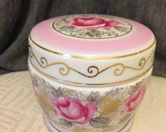 GORGEOUS! PERFECT! Vintage IRICE porcelain Vanity Jar