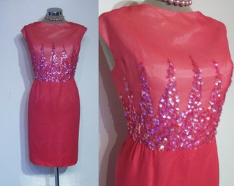 "Fabulous early 1960s wiggle dress w/illusion spangled dagger bodice bust 41"" waist 35"""
