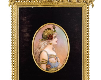 19th c French Enamel Plaque w/gilt Bronze frame w signed T. Leroy