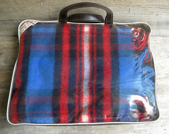 Vintage Faribo Royal Blue and Red Plaid Pak A Robe Stadium Blanket  / Throw / Cabin Blanket / Camp Blanket / Vintage Faribo Blanket
