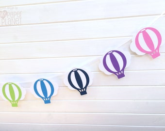 Rainbow Hot Air Balloon Banner. Balloons & Clouds. Garland, bunting. Baby shower, birthday. First birthday party. Party decor.