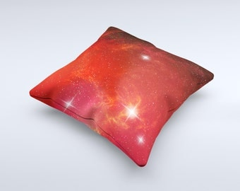 The Glowing Red Space ink-Fuzed Decorative Throw Pillow