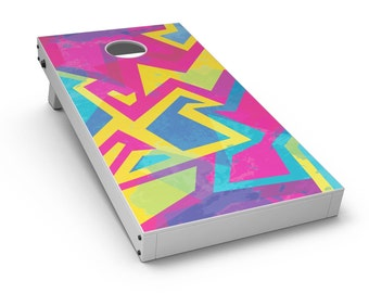 Bright Retro Color-Shapes - Cornhole Board Skin Kit