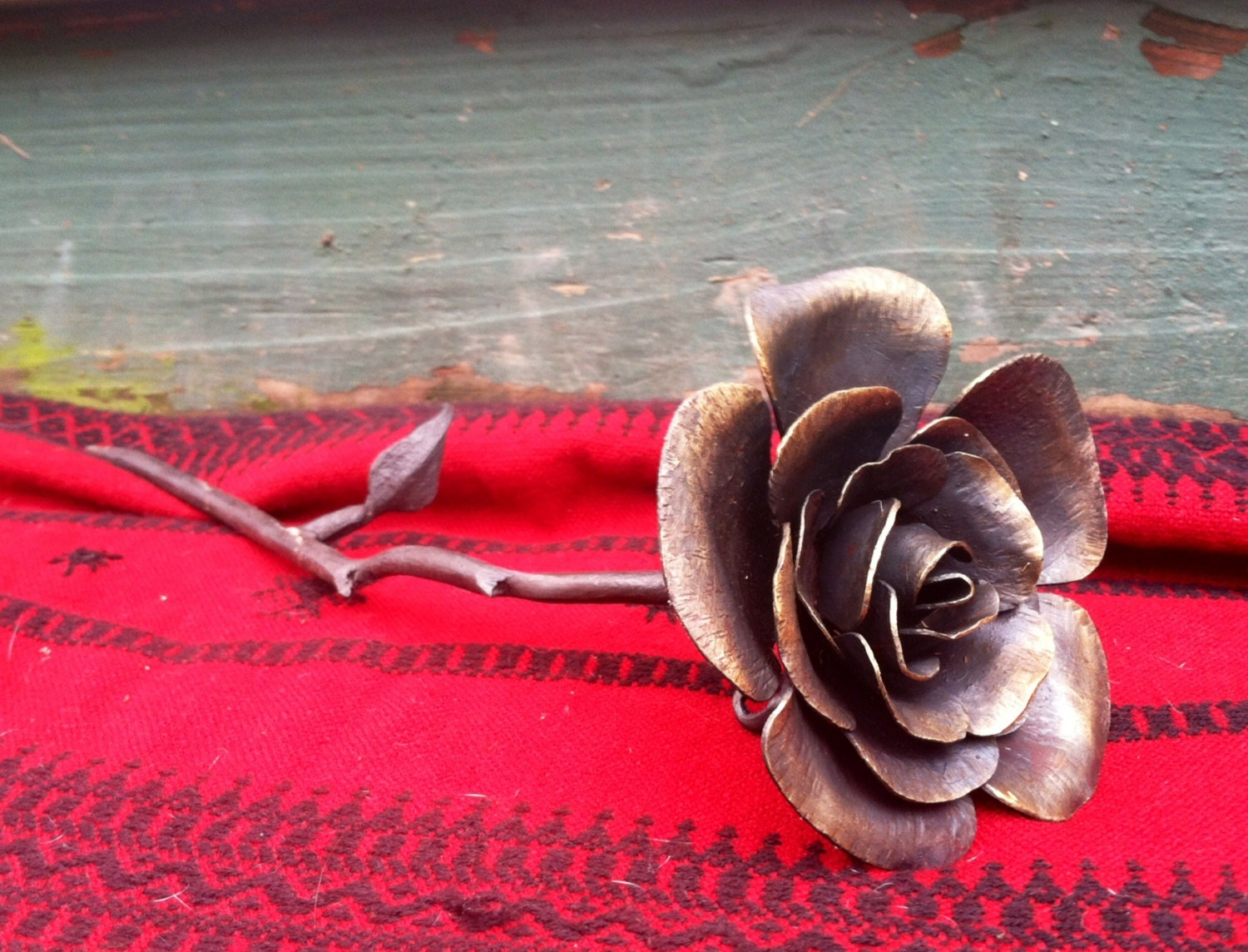 6th Wedding Anniversary Traditional Gifts: Iron Forged Rose 6th Anniversary Gift Metal Rose Rose Iron