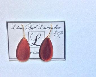 Beautiful dangling hand-made enamel earrings