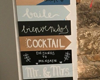 Wooden wedding sign / colour or slate