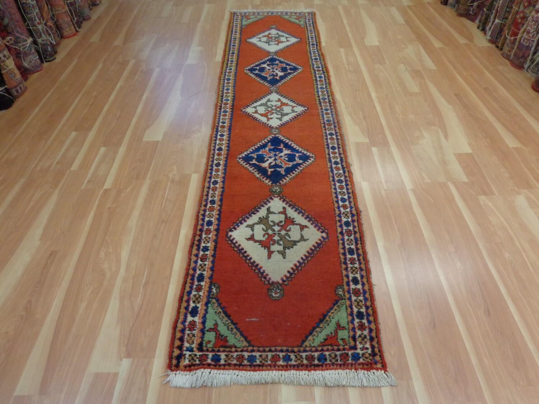 Persian Rug Runner Vintage Rug Red Orange Rugs Wool Carpet