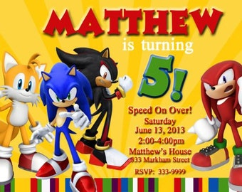 Sonic the Hedgehog Invitations, Sonic the Hedgehog Party, Knuckels Invitation, Tails Invitation, Birthday Invitation You Print Digital File