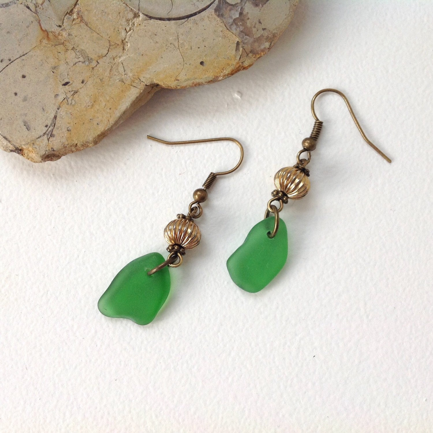 Sea glass earrings beach glass jewelry by QuirkyGirlWorkshop - photo#45