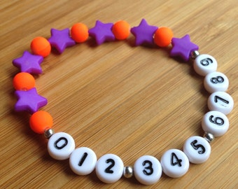 Phone Number ID Bracelet - emergency - find me fast - Stars and Dots