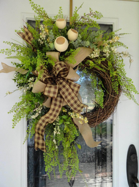 Country Burlap Wreath All Year Wreath Everyday Wreath