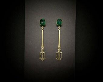 Emerald Earrings Brass Swarovski Rhinestones Antiqued Metals Art Nouveau FREE SHIP USA