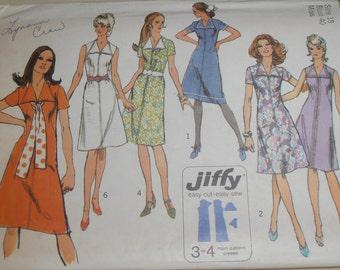 70s Vintage Dress Tunic Pattern, Simplicity 9355 Sewing pattern Size 18 bust 40 Mod dress, Jiffy pattern, Epsteam