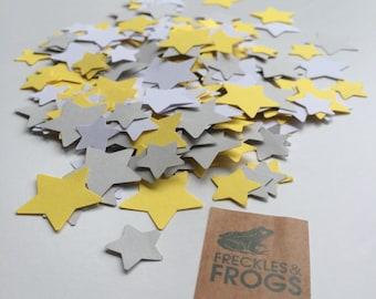 Stars Table Confetti - Yellow, Grey & White