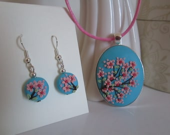 Cherry Blossom Necklace Pendant and dangles/earrings polymer clay embroidery/applique