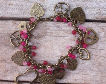 Hand on your heart charm bracelet