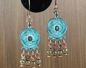 Rustic Romantic ~ Copper Verdigris Bohemian earrings