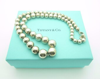 "Tiffany & Co. Sterling Silver Graduated Bead Ball Necklace 16"" With Tiffany Box"