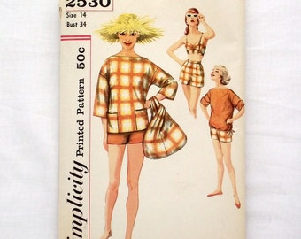 Vintage Simplicity 2530 size 14 sewing pattern bra shorts overblouse beach bag bust 34 1950s