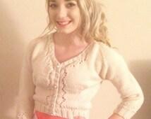 Hand-Knitted Women's Eyelet Cardigan (Short or 3/4 Length Sleeve)