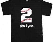 Baseball Large Age / Number Birthday shirt personalized with child's name t-shirt kid's shirt Baseball themed party boys kids