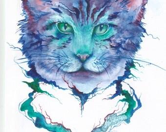 Cat Art Print- LARGE