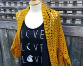 Woman's Shrug | Gold Cocoon Sweater | Women's Size XL Sweater | Gold Summer Sweater | Knit Shrug | Knit Cocoon Sweater | Ready to Ship
