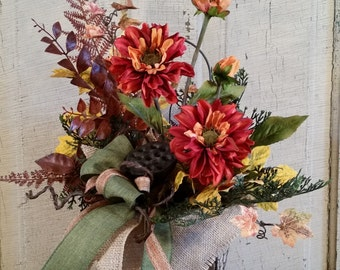 Fall Floral Arrangement-Fall Wall Pocket-Wire Wall Pocket-Fall Dahlias-Chicken Wire Wall Pocket