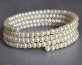 6 mm Glass Pearl Bracelet,cream pearl Bracelet, four strands Pearl Bracelet,Wedding Bracelet,Bridesmaid Bracelet,Maid of honor jewelry