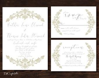 Printable Classic Handwritten Wedding Invitation, RSVP & Reception Card-Print Yourself-Digital File