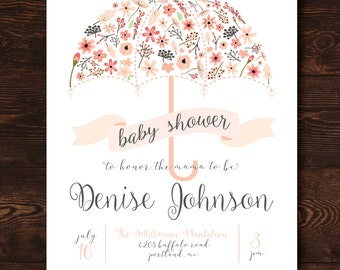Printable Pink Floral Umbrella Baby Shower Invitation-Print Yourself-Digital Invite