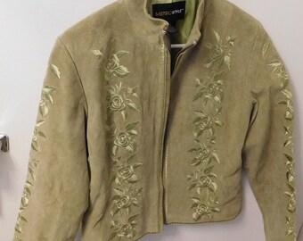 Metro Style 100% Leather Light Olive Green Jacket