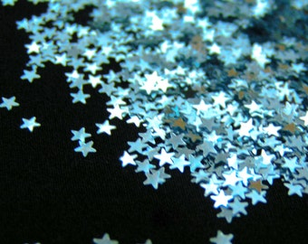 solvent-resistant glitter shapes-ice blue (metallic) extra-small stars