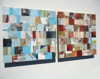 SALE 5 ft MODERN ART mosaic mixed media abstract art block painting modular wall art