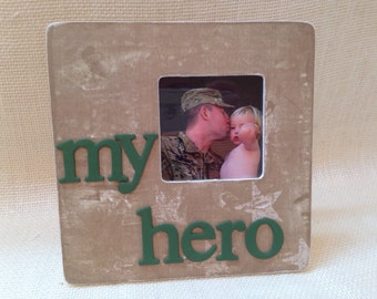 My hero picture frame, military picture frame, solider picture frame, army, marine, navy, air force, gift for military veteran