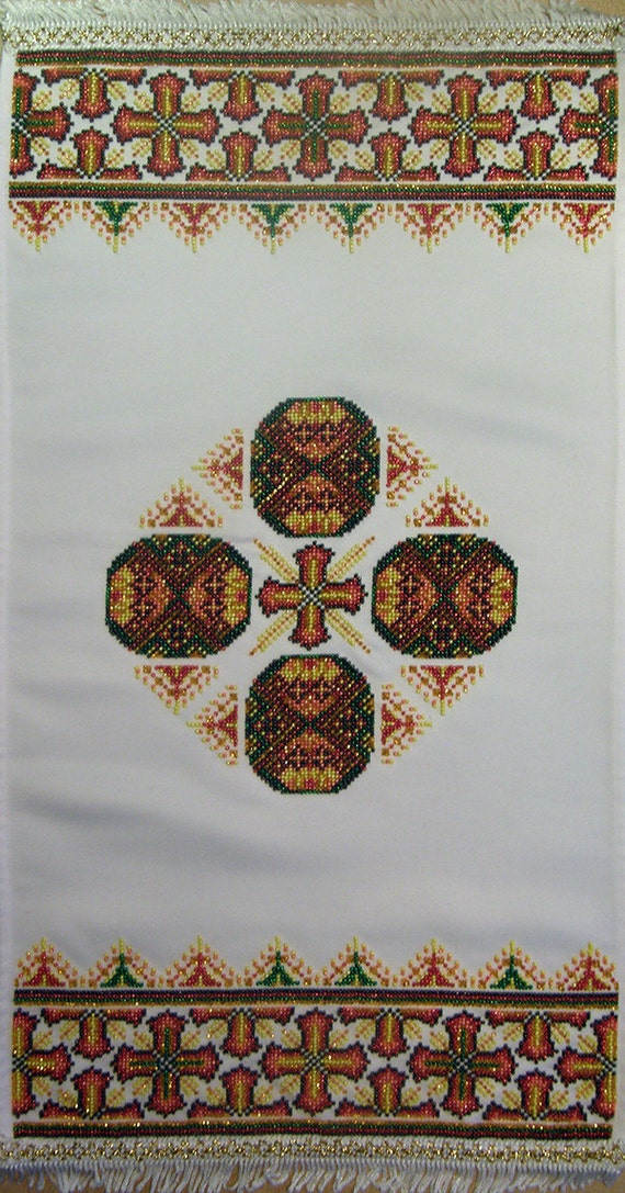 Easter Napkin Rushnyk Pascha Gift Idea, DIY beaded embroidery kit