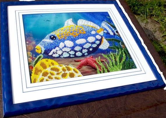 Triggerfish DIY bead embroidery kit,wall decor, painting, beading on needlepoint