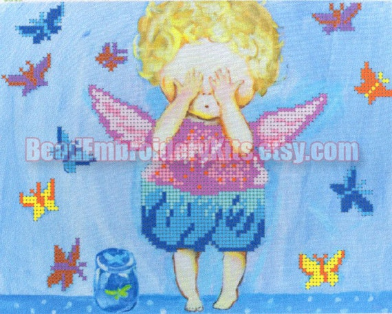 Angel and Butterflies DIY bead embroidery kit, beading on needlepoint set, room wall decor housewarming gift idea