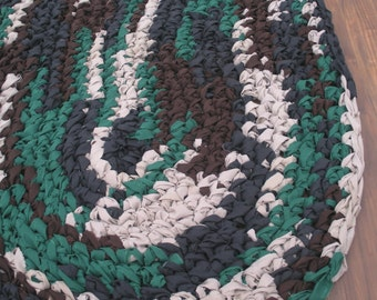 "44""x28"" Camo Themed Rug, Hand Crocheted, Oval Rag Rug, Braided Rug, Boy's Bedroom Rug, Camo Rug, Floor Rug, Throw Rug"