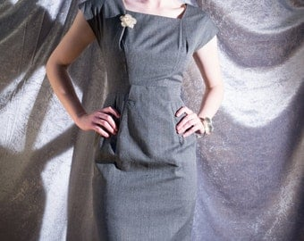"""stunning grey, fully lined modernist 1950s wiggle dress by """"Anita Modes"""""""