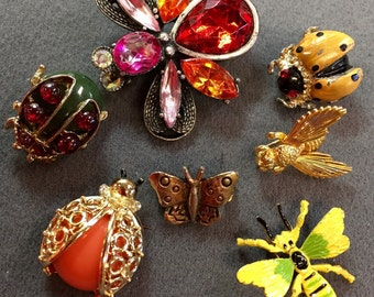 Seven Cute Insect Brooch Pins- free shipping