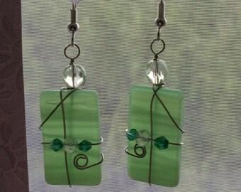 Green earrings, Green stained glass earrings