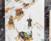 New Dachshund Design!!! Fun Vintage Christmas Card Repro of Dachshunds Sledging