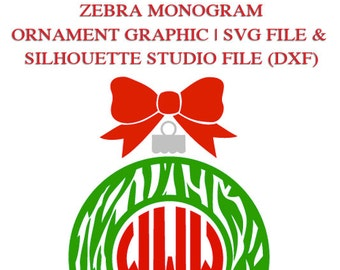 Zebra Monogram Ornament Frame File for Cutting Machines   SVG and Silhouette Studio (DXF)