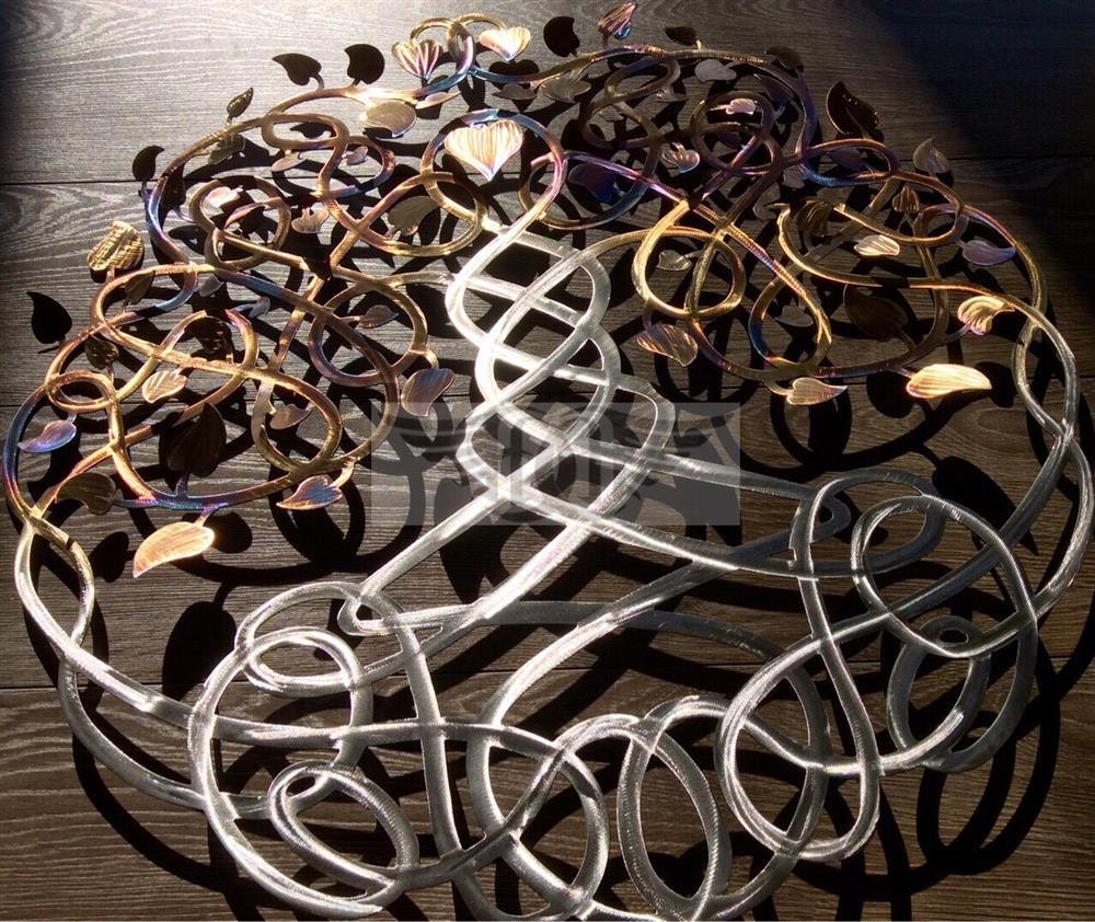 Large Metal Wall Art Eternity Tree of Life Heated Stainless
